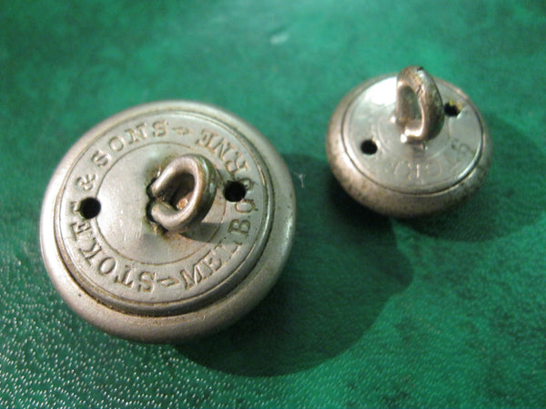 Pair of Vic Rail King's Crown Buttons