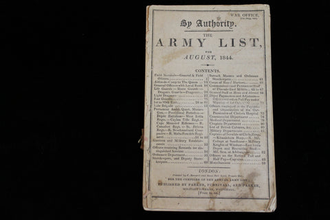 1844 - War Office Army List for August