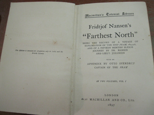 "1897 - Two Vol Set "" Farthest North "" by Fridtjof Nansen"