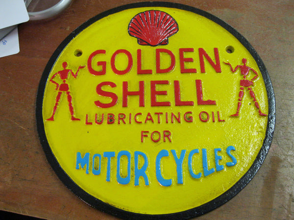 Shell Motorcycle Oil Cast Iron Sign