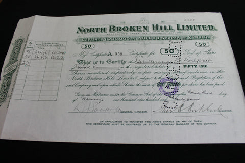 1924 - North Broken Hill Share Certificate
