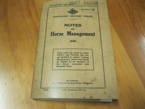 "1926 - AMF "" Notes on Horse Management """