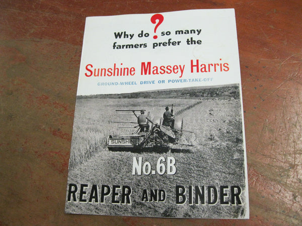 Sunshine Massey Harris Reaper Catalogue