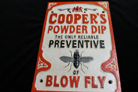 "Cast Iron "" Cooper's Powder Dip "" Sign"
