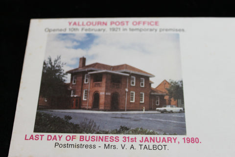 Yallourn Post Office Last Day of Trading Cover