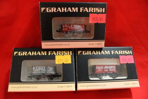 "3 - ""N"" Gauge Wagons - New Boxed"