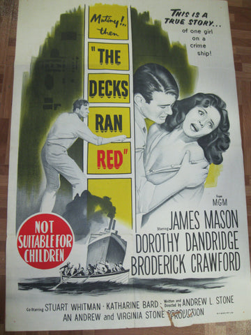 "1958 - "" The Decks Ran Red "" Movie Poster"