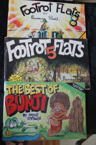 2 - Footrot Flats and 1 - Bunji Books