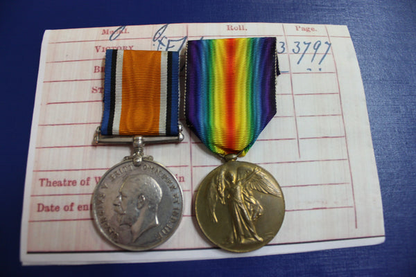 WW1 - British Medal Pair to Pte G Hawksley