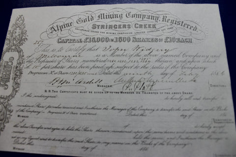 1866 - Alpine Gold Mining Company - Stringer's Creek { Walhalla }Share Certificate
