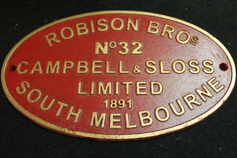 Robison Bros - Railway Makers Plate