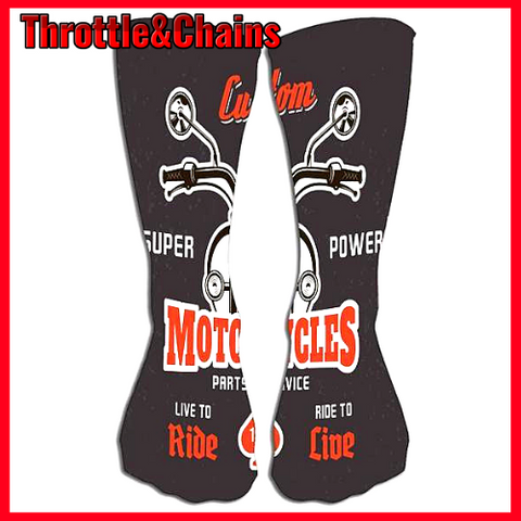 Dark Print Super Power Motorcycle Outdoor Sports Socks