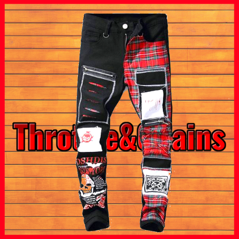 Plaid Patchwork Destroyed Skull Printed Ripped Men's Jeans.