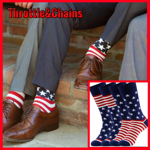 Patriotic American Flag Cotton Casual Crew Socks