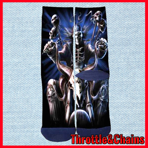 Death Motorcycle 3D Print Custom Casual Crew Socks