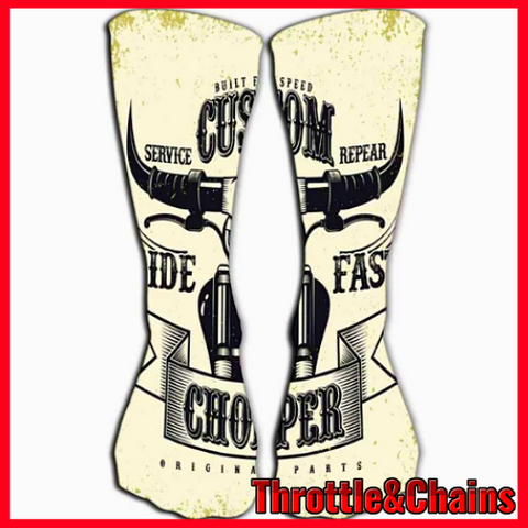 Grunge Chopper Vintage Biker Graphic Print Casual Socks