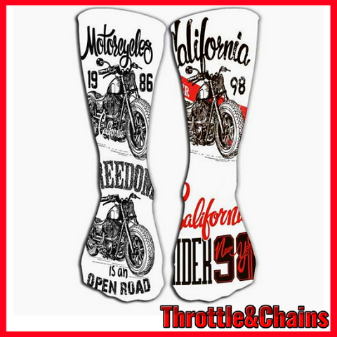 Open Road California Freedom Motorcycle Print Crew Socks