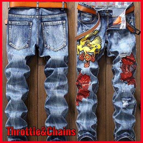 Fashion Slim Fit Straight Leg Mens Patchwork Jeans Pants