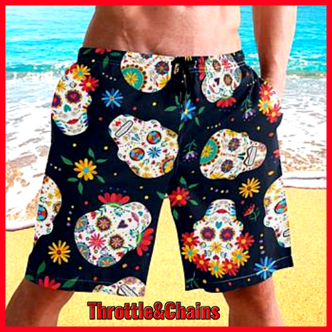Mens Colorful Sugar Skull Print Summer Quick Dry Swim Shorts