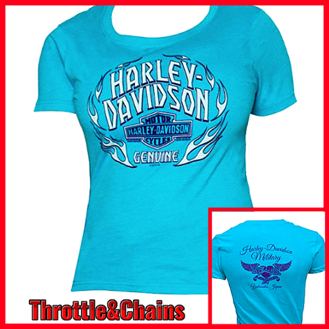 Women's Harley Davidson Military Jade Scoop Neck T-Shirt