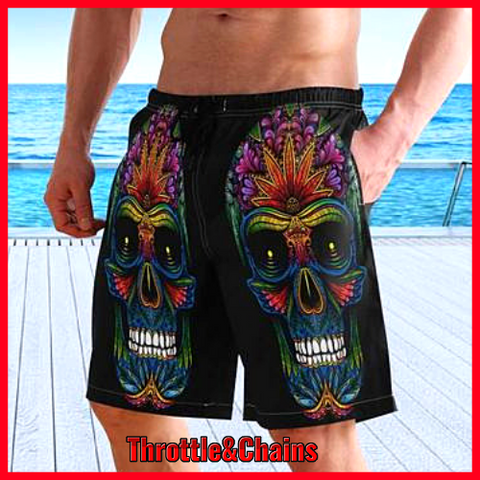 Men's Sugar Skull Print Quick Dry Swim Shorts with Mesh Lining