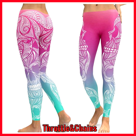 Women's Retro Sugar Skull Pattern Elastic Leggings