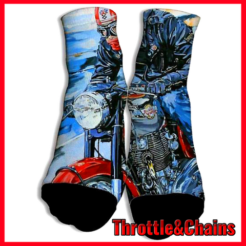 Man Rides Motorcycles Cozy Breathable Cotton 3D Print Socks
