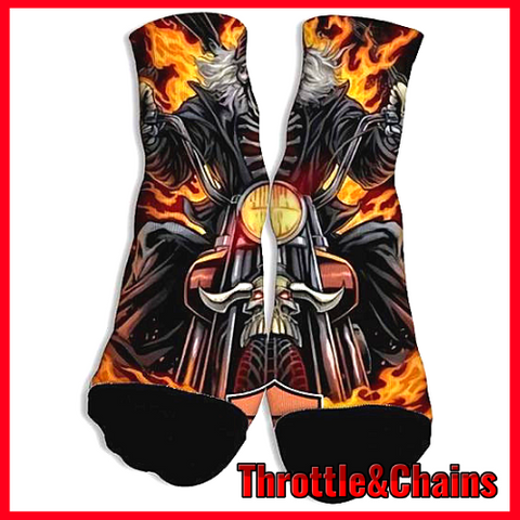 Skeletons And Motorcycles Cozy Breathable Cotton 3D Print Socks