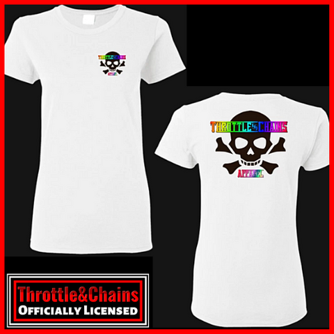Skull And Bones Rainbow Print Design FRONT/BACK Women's Ultra Cotton T-Shirt
