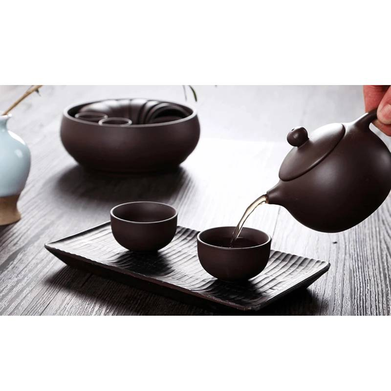 Chinese Tea Set Clay Kung-fu Teapot Cup Purple Set