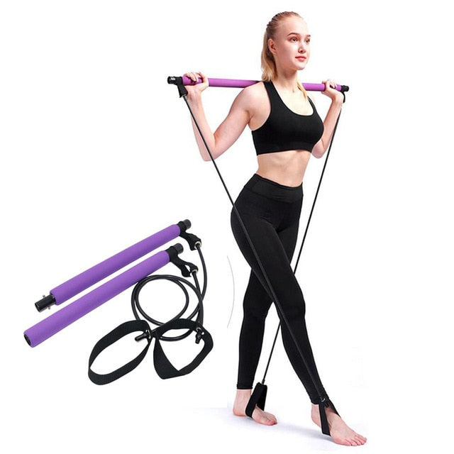 Pilates Bar Kit Adjustable Portable Yoga Gym Rope