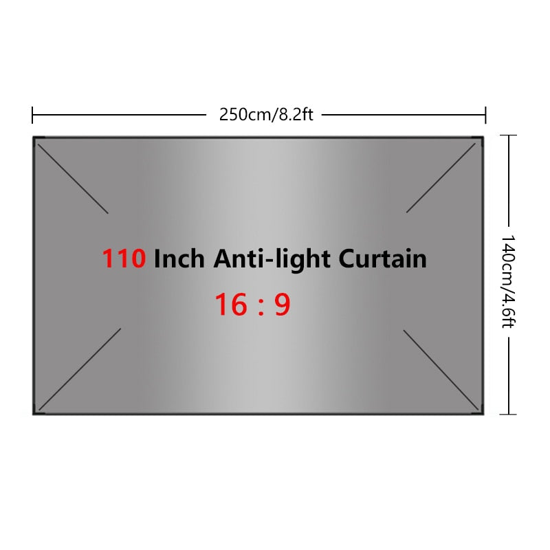 Projector Screen Curtain Indoor Outdoor 60 72 84 100 110 120 130 Inch