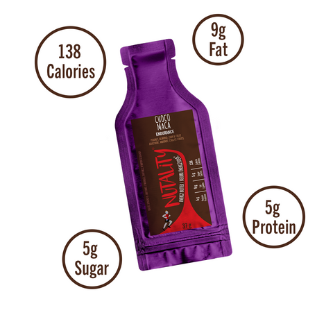 Choco Maca surrounded by its nutritional facts: Calories 138, Fats 9 grams, Sugar 5 grams, Protein 5 grams