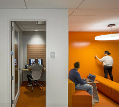 orange whiteboard walls with transparent whiteboard paint