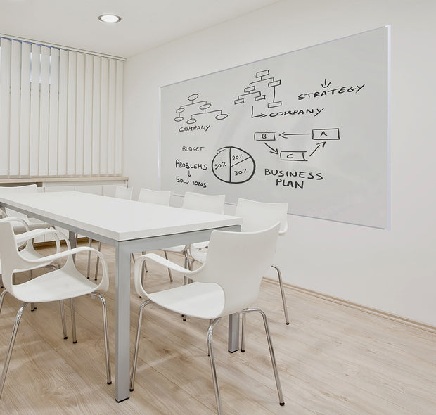 Flexiroll Whiteboard wallpaper on a wall with trim