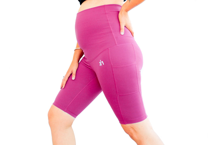 Pink Active Core Maternity Bike Shorts with Pockets