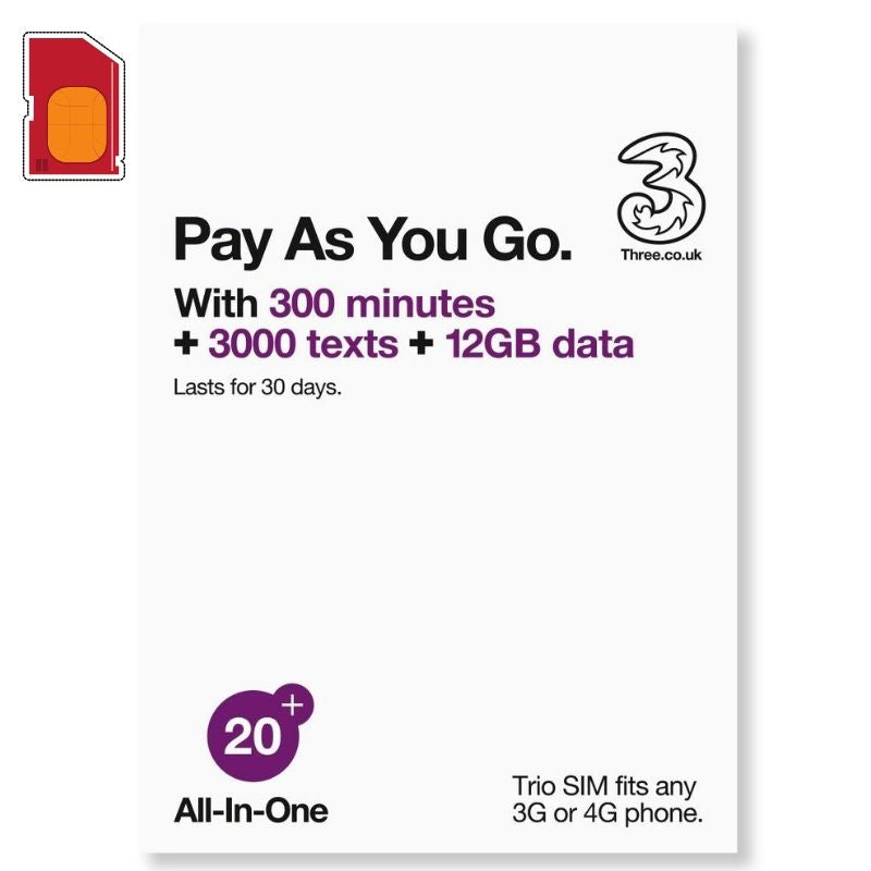 3UK - Europe/America/Asia 71 Destinations 30Days 4G/3G Travel SIM Card