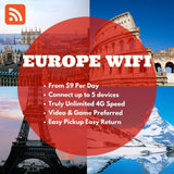 Europe Pocket Wifi Rental - Unlimited 4G Data Share with 5 devices Best for Traveller