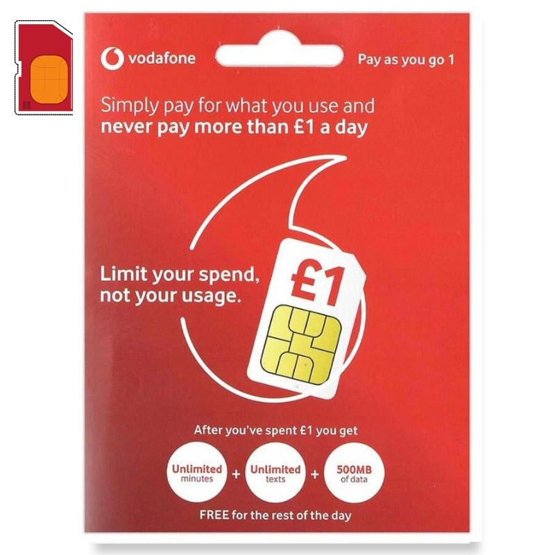 UK Vodafone PAYG1 Europe Travel SIM Card-10/15/20 Days Voice & Data SIM Turkey