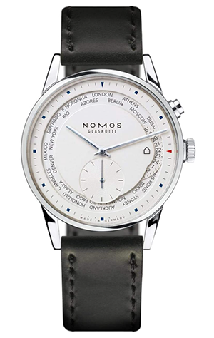 Nomos Zurich Weltzeit Black Leather Mens Watch 805