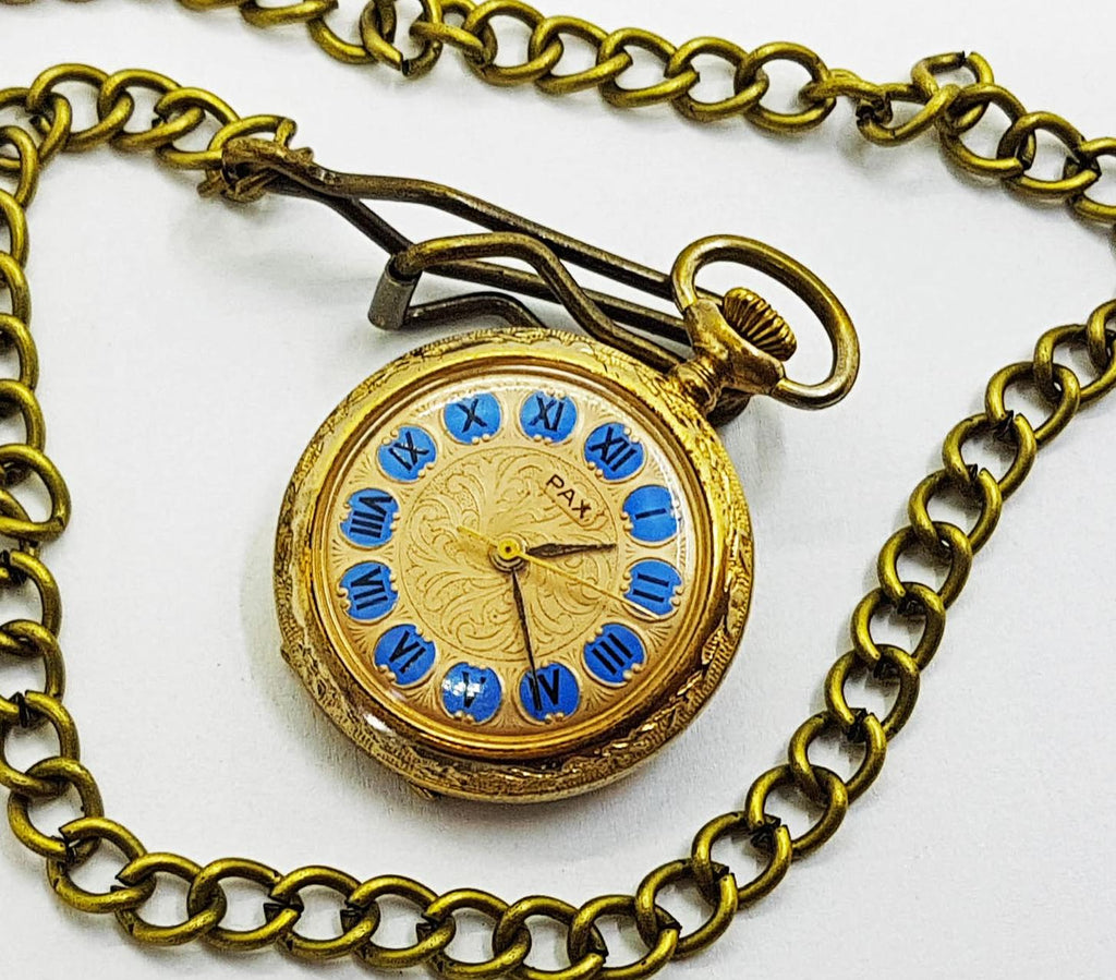 Pax Gold-tone Vintage Pocket Watch | Unique Medallion Watches