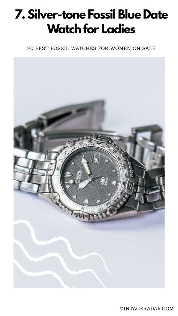 Silver-tone Fossil Date Watch for Ladies