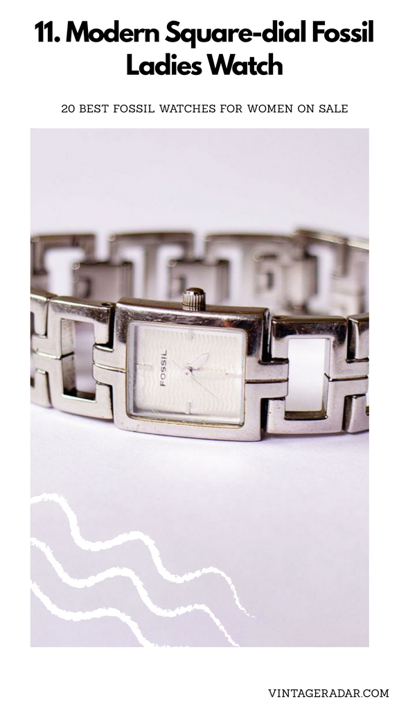 Silver-tone Square Fossil Watch