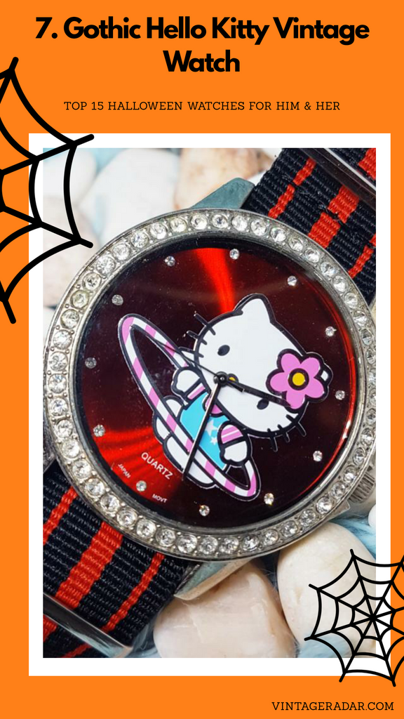 Big Hello Kitty Vintage Watch | Red And Silver Tone Character Watch