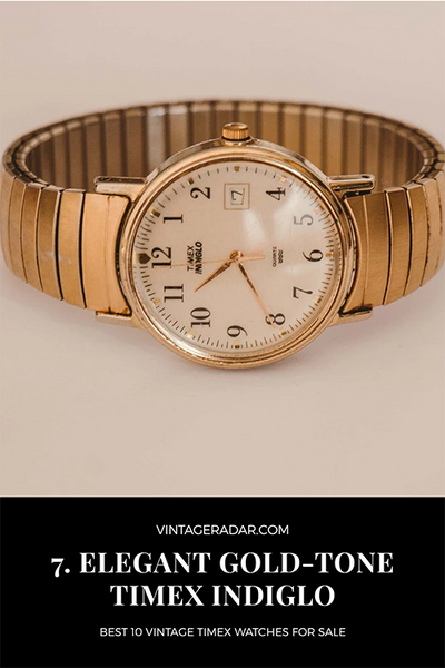 Vintage 1990s Gold Timex Indiglo Date Watch