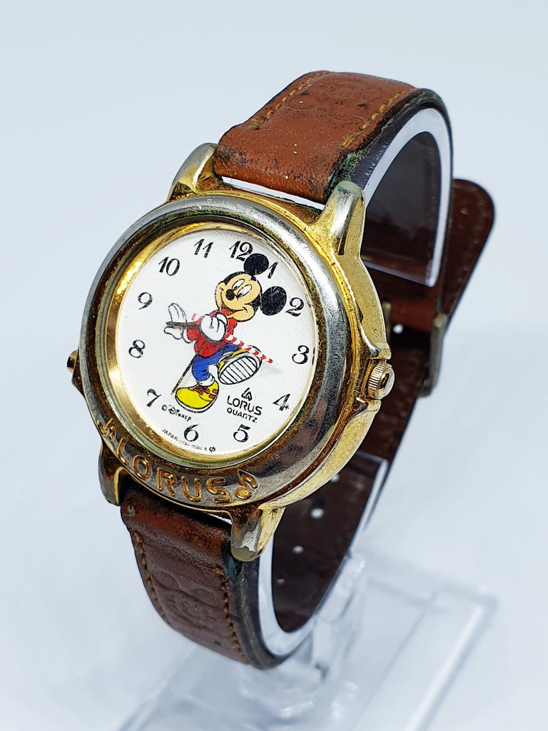 精工Musical Watch角色石英手表的Disney Lorus Marching米老鼠v421-0060
