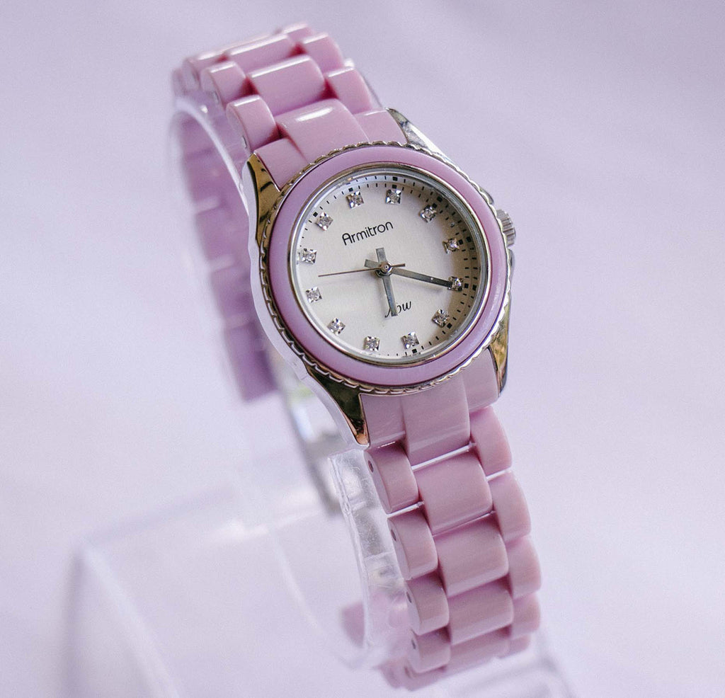Silver-tone Armitron Now Quartz Watch for Ladies with Pink Bracelet