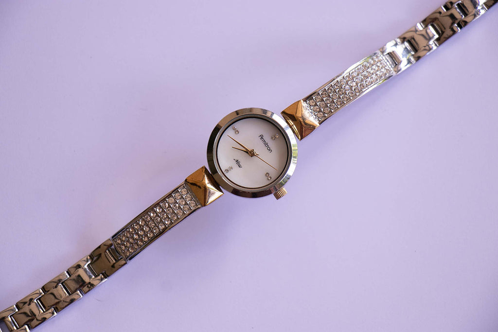Armitron Silver-tone Watch for Ladies with Swarovski Crystals Bracelet