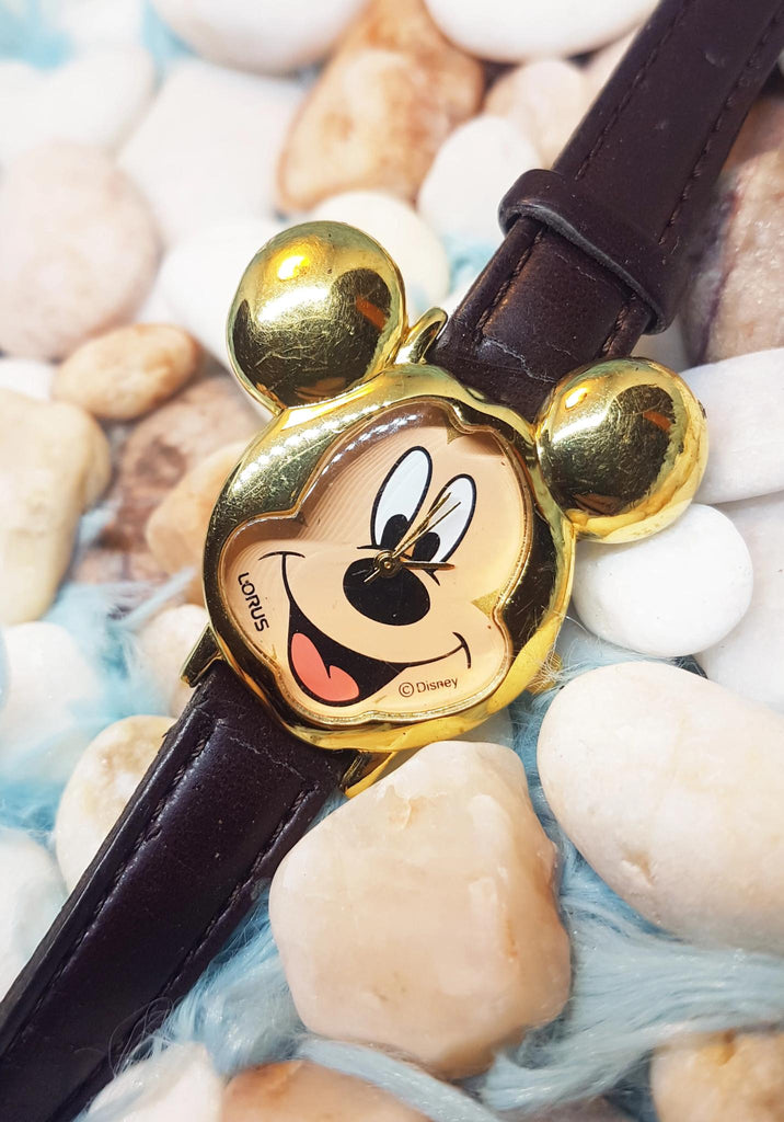 Lorus Mickey Mouse V501-X075 Mickey Ears face Gold Watch