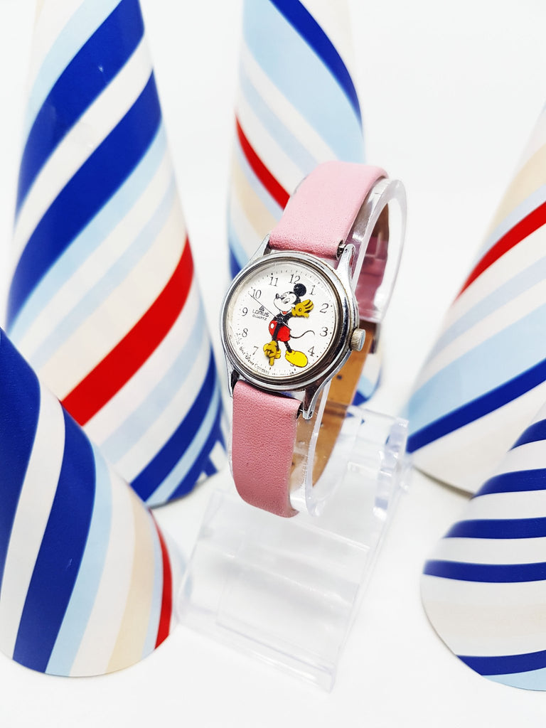 Lorus Quartz V811-0150 Mickey Mouse Watch with Pink Strap